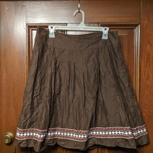 Brown cotton skirt with embroidered hem